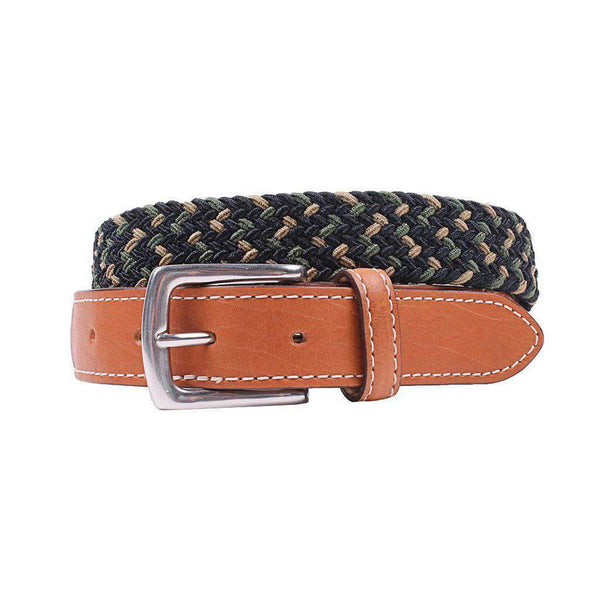 Country Club Prep Cooper Elastic Braid Belt in Khaki, Olive & Navy