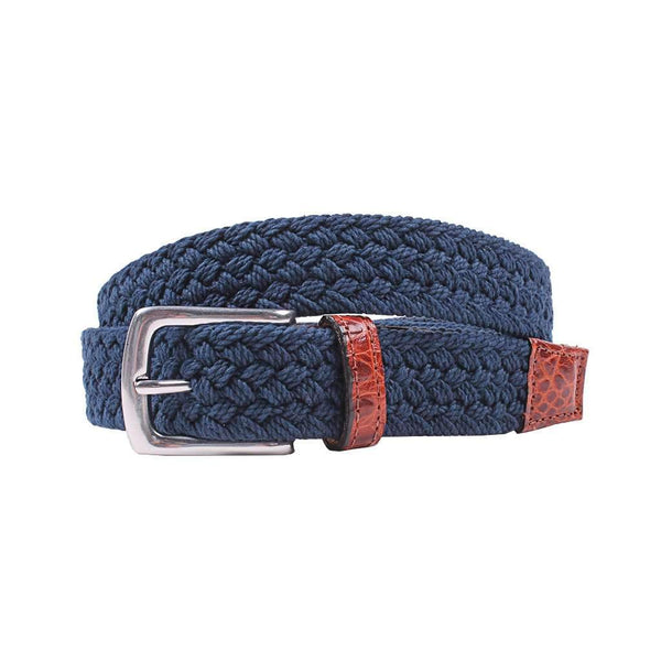 Country Club Prep Littlefield Cotton Braid Belt in True Navy