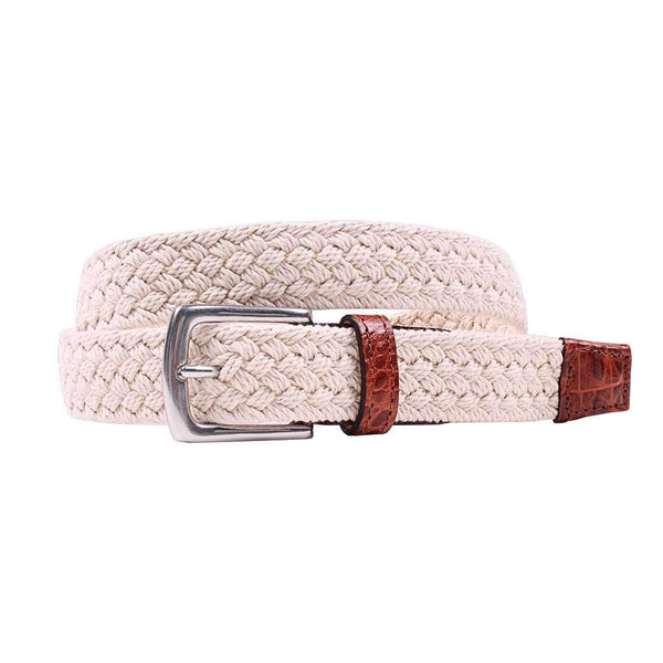 Country Club Prep Littlefield Cotton Braid Belt in Sail Cloth