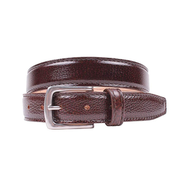 Country Club Prep Torrence Deerskin Dress Belt in Chestnut