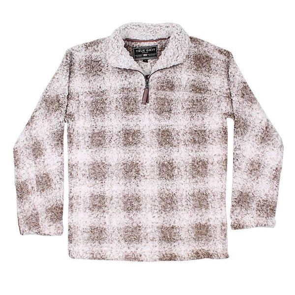 True Grit Softest Tip Box Plaid Shearling 1/4 Zip Pullover in Brown
