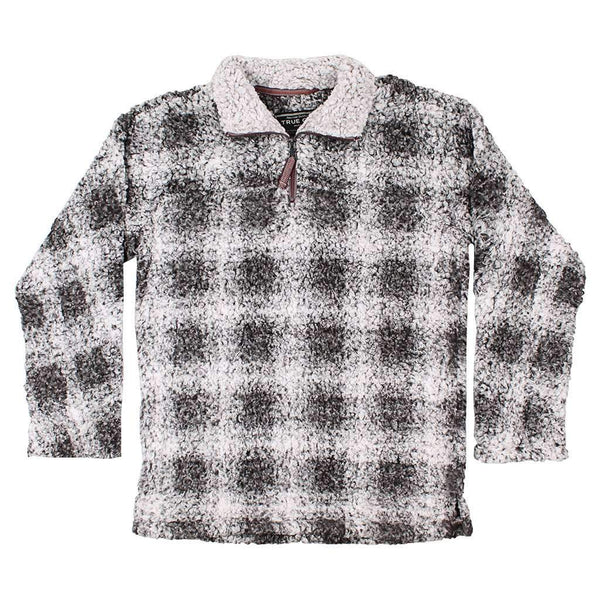 True Grit Softest Tip Box Plaid Shearling 1/4 Zip Pullover in Charcoal