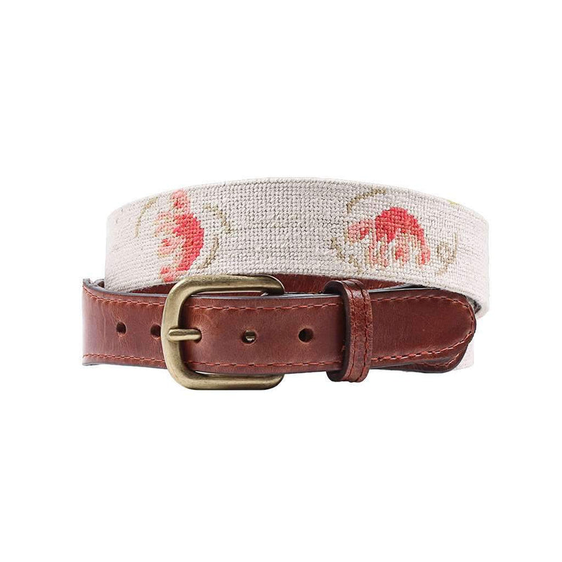 Smathers & Branson Vineyard Vines Lobster Roll Needlepoint Belt in Light Khaki