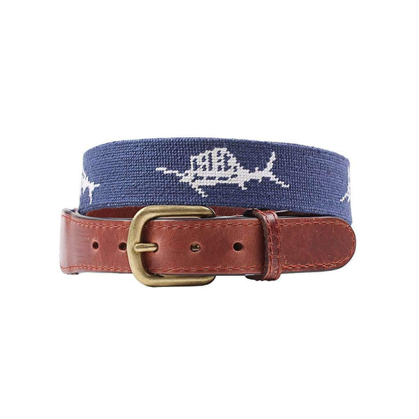 Smathers & Branson Vineyard Vines Billfish Needlepoint Belt in Navy