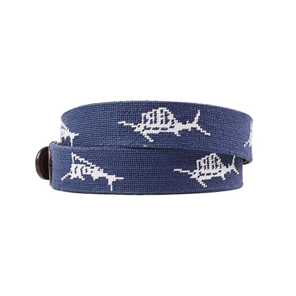 Vineyard Vines Billfish Needlepoint Belt in Navy by Smathers & Branson