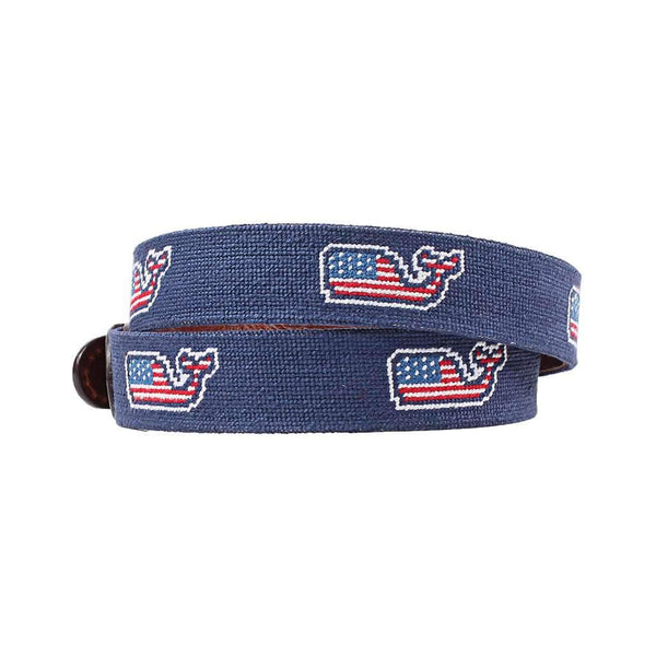 Smathers & Branson Vineyard Vines American Whale Needlepoint Belt in Navy