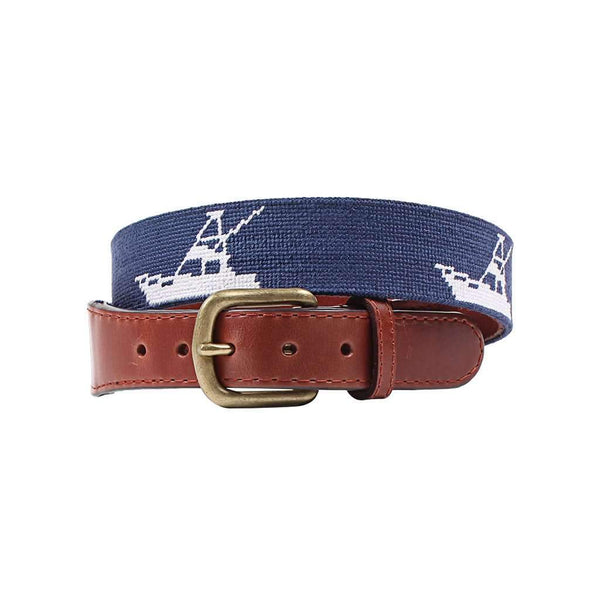 Smathers & Branson Vineyard Vines Sport Fishing Needlepoint Belt in Navy