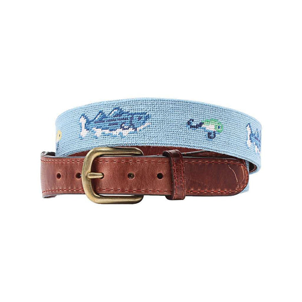 Smathers & Branson Vineyard Vines Bass and Lures Needlepoint Belt in Light Blue