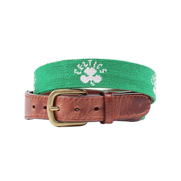 Smathers & Branson Boston Celtics Needlepoint Belt in Light Emerald