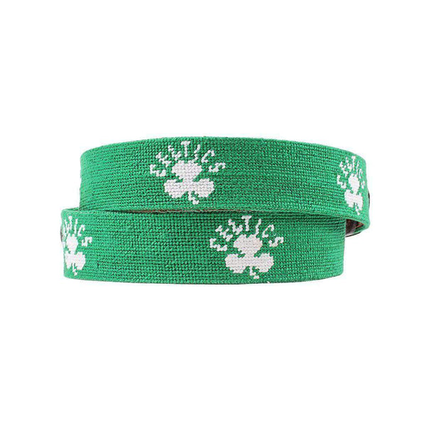Boston Celtics Needlepoint Belt in Light Emerald by Smathers & Branson