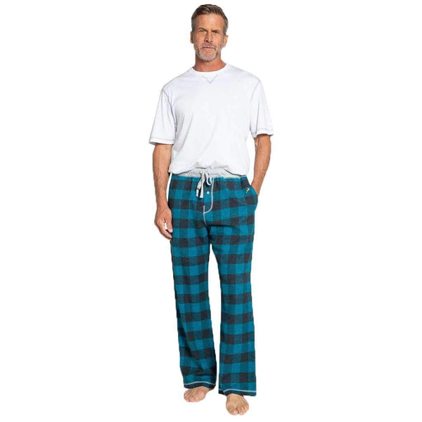 True Grit Melange Buffalo Check Flannel Pant in Blue