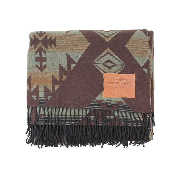 True Grit Palamino Fringe Blanket in Olive by True Grit