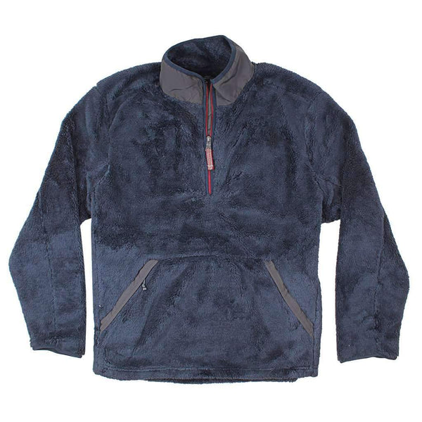 True Grit Luxe Double Plush Zip Pullover in Vintage Navy
