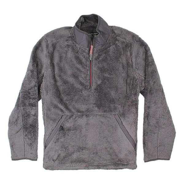 True Grit Luxe Double Plush Zip Pullover in Charcoal