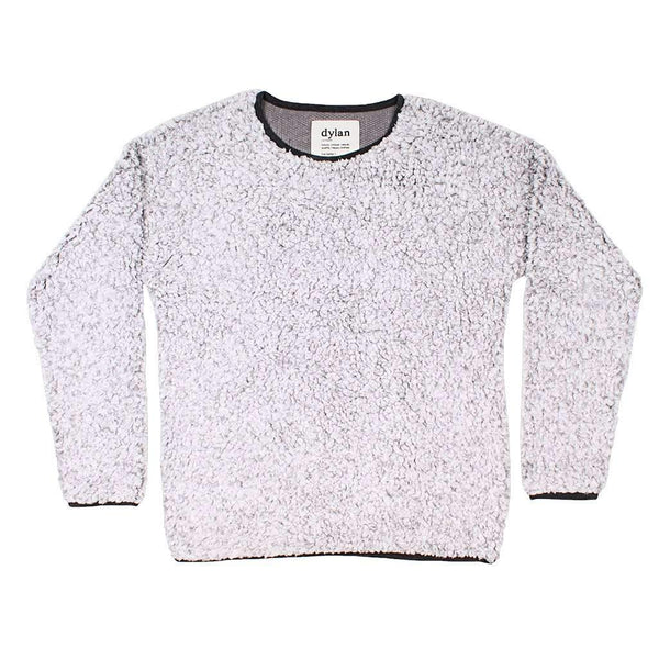 True Grit (Dylan) Solid Frosty Tipped Drop Shoulder Crew Sweater in Heather