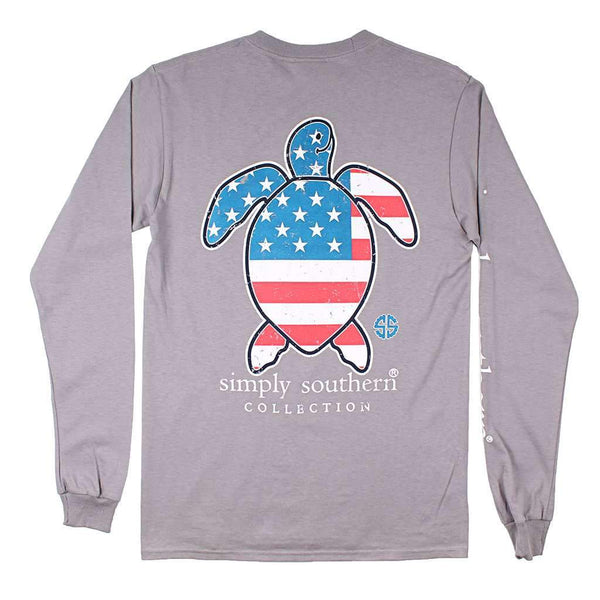 Simply Southern Save Turtle Tee USA in Steel