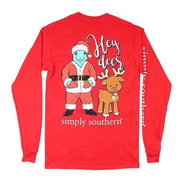 Simply Southern Santa Turtle Tee in Red
