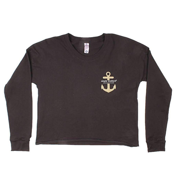 Simply Southern Shortie Anchor Tee in Black by Simply Southern
