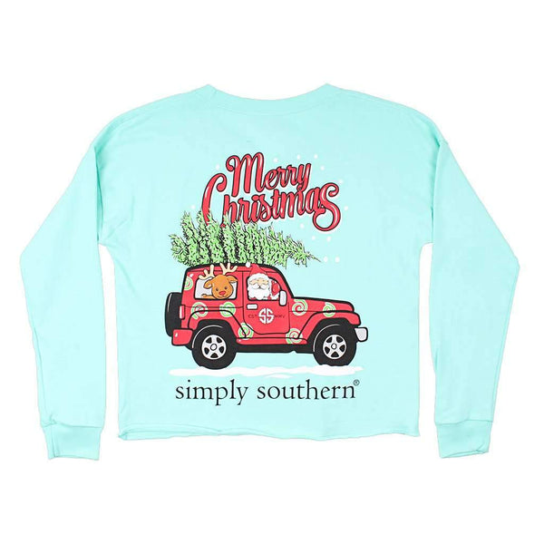Simpy Southern Shortie Merry Christmas Tee in Celedon