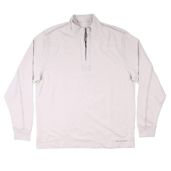 True Grit Cashmere Heather Fleece Zip Pullover in Smoke