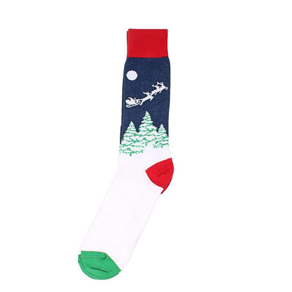 Santa's Sleigh Socks in Navy by Byford