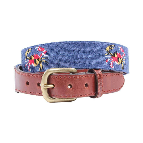 Smathers & Branson Maryland Flag Crab Needlepoint Belt in Classic Navy