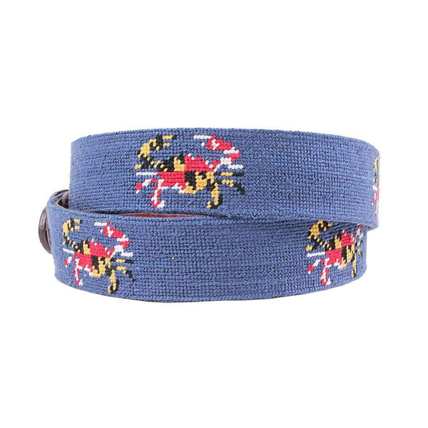 Maryland Flag Crab Needlepoint Belt in Classic Navy by Smathers & Branson
