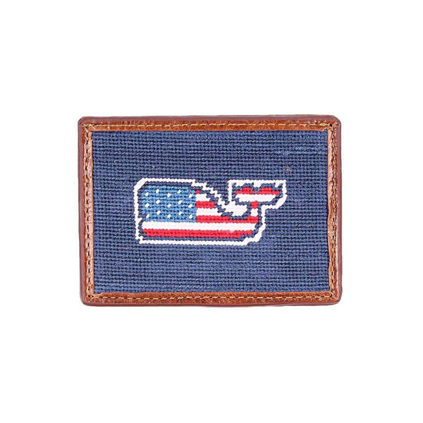 Vineyard Vines American Whale Needlepoint Credit Card Wallet in Classic Navy by Smathers & Branson