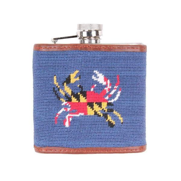 Smathers & Branson Maryland Flag Crab Needlepoint Flask in Classic Navy
