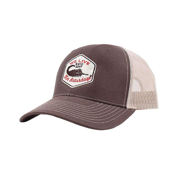 We Live For Saturdays Mallard Feather Trucker Hat