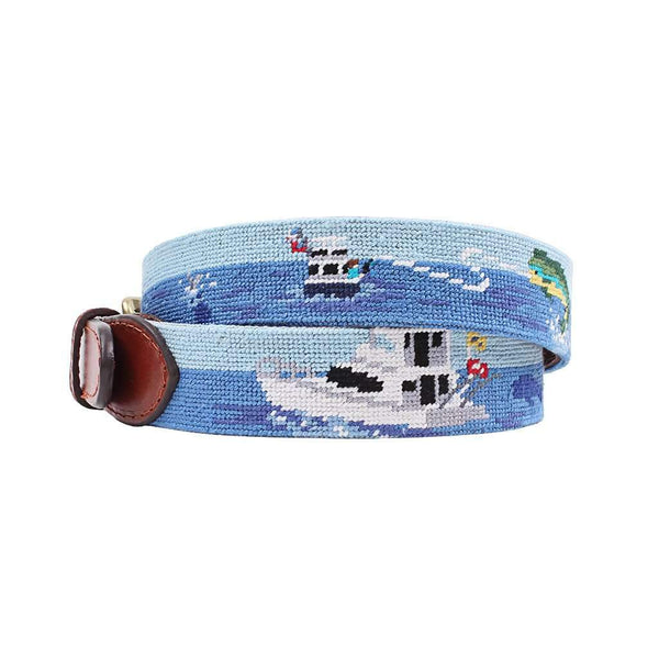 Offshore Fishing Needlepoint Belt by Smathers & Branson