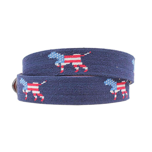 Patriotic Dog on Point Needlepoint Belt by Smathers & Branson