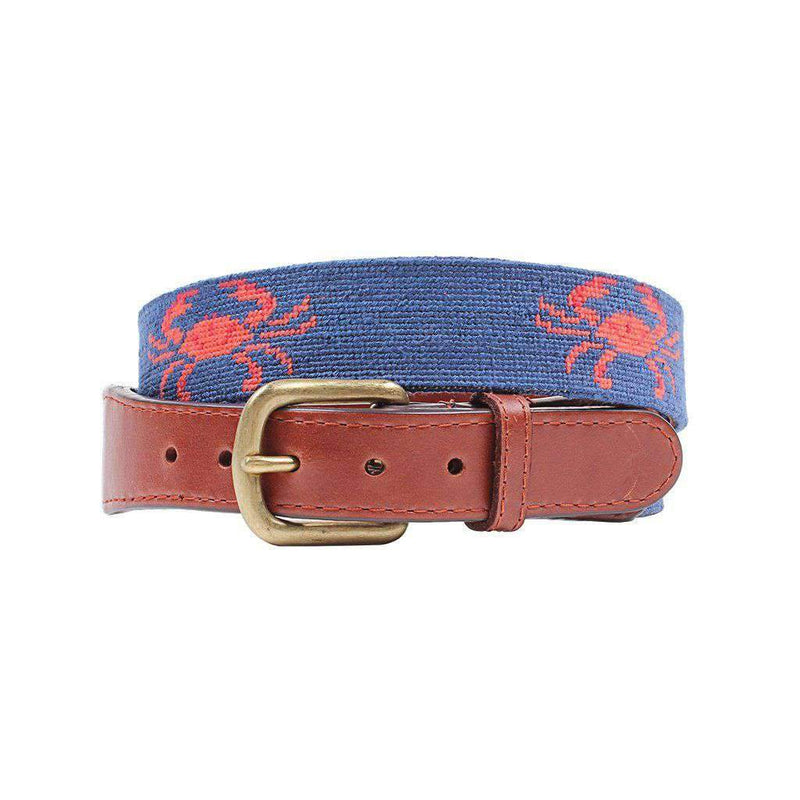 Coral Crab Needlepoint Belt by Smathers & Branson
