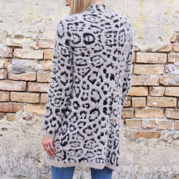 Caroline Hill Lennox Leopard Fuzzy Knit Long Cardigan by Caroline Hill