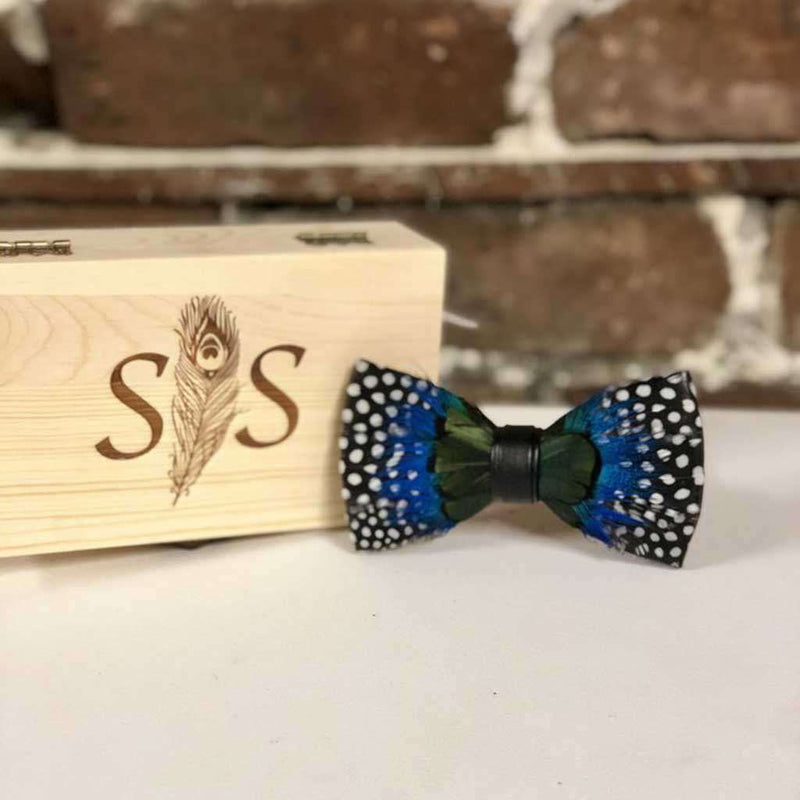 Southern Snap Co. Cloudy Sky Feather Bow Tie by Southern Snap Co.