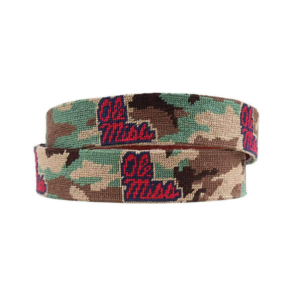 Smathers and Branson University of Mississippi Camo Needlepoint Belt by Smathers & Branson