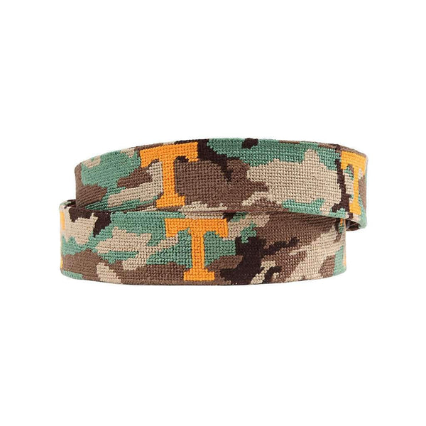 Smathers and Branson University of Tennessee Power T Camo Needlepoint Belt by Smathers & Branson