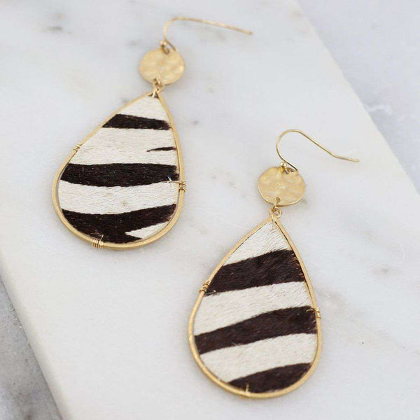 Caroline Hill Carter Zebra Teardrop Earring by Caroline Hill