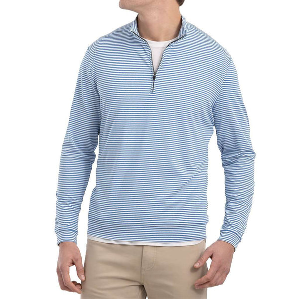 Johnnie-O Turn Light Weight Striped Prep-Formance 1/4 Zip Pullover by Johnnie-O