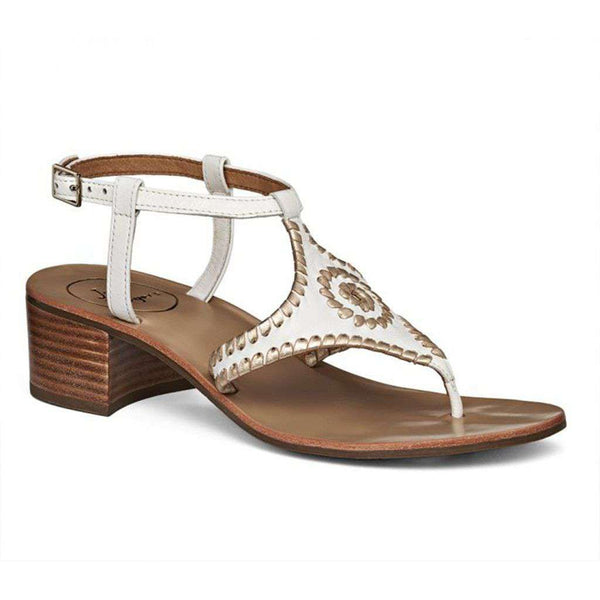 Elise Sandal in White and Platinum by Jack Rogers - Country Club Prep