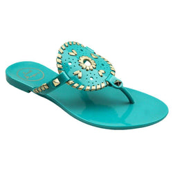 Georgica Jelly Sandal in Caribbean Blue and Gold by Jack Rogers  - 1