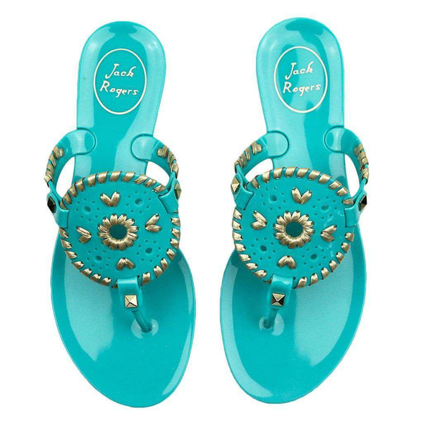 Georgica Jelly Sandal in Caribbean Blue and Gold by Jack Rogers - FINAL SALE