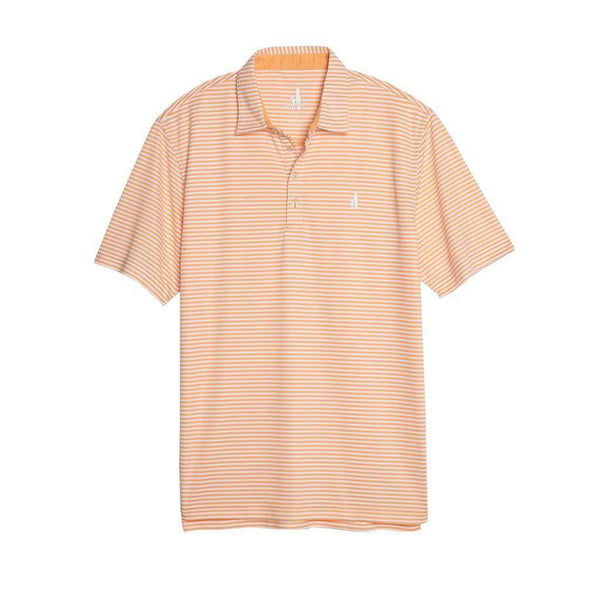Johnnie-O Bunker Striped Prep-Formance Polo in Tangerine