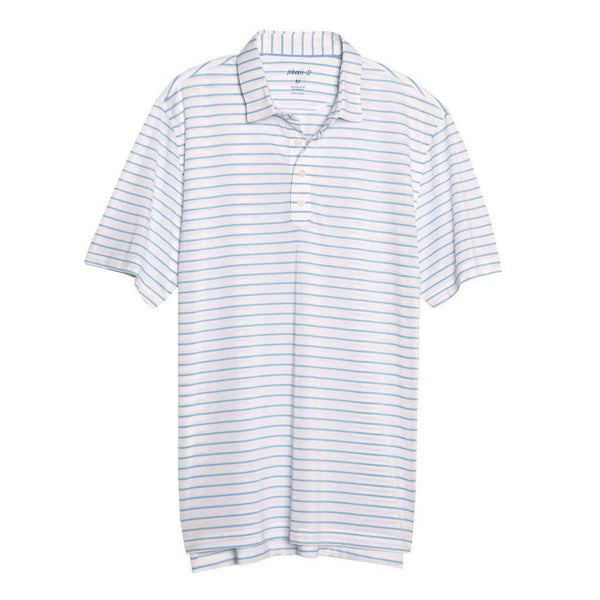 Johnnie-O Cay Striped Pique Prep-Formance Pique Polo in White