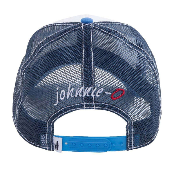 Johnnie-O Horseshoe Bay Trucker Hat in Gulf Blue & Midnight