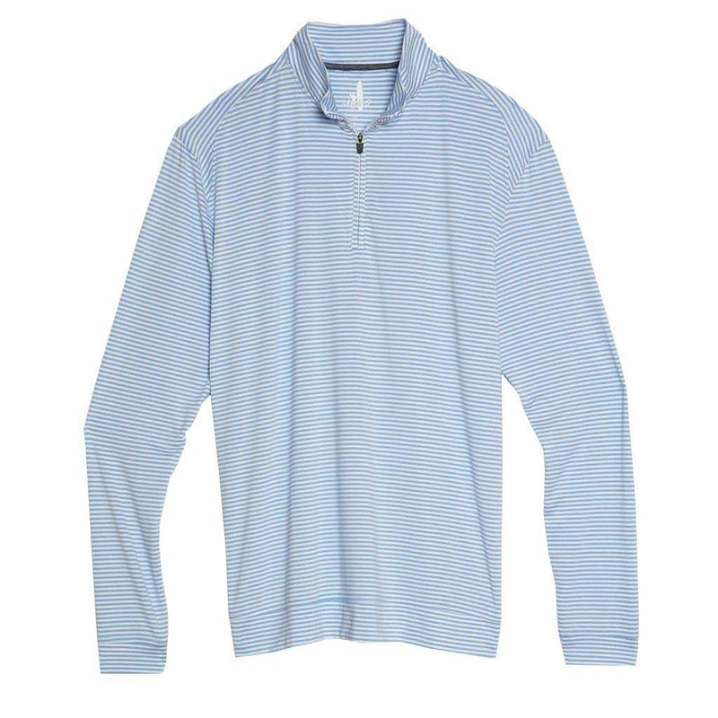 Johnnie-O Turn Light Weight Striped Prep-Formance 1/4 Zip Pullover in Clearwater
