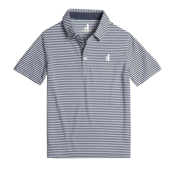 Johnnie-O Youth Bunker Striped Prep-Formance Polo in Midnight