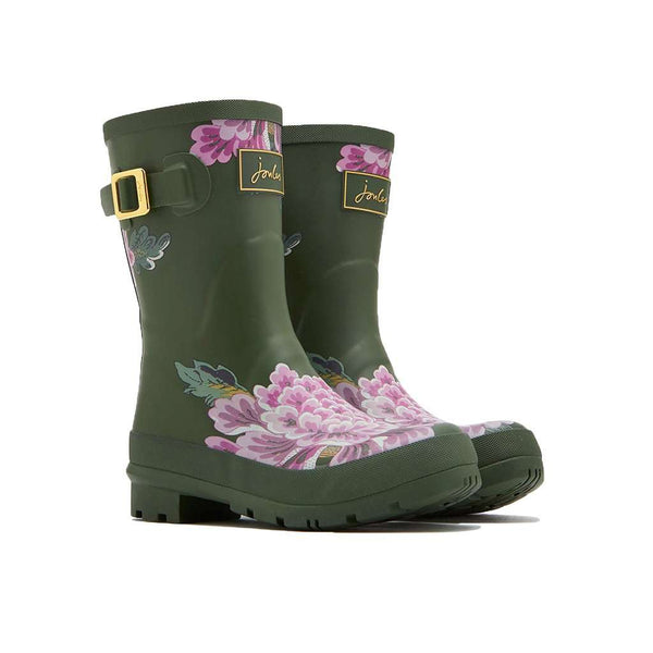 Joules Molly Mid Height Welly Rain Boot in Grape Leaf Chinoise