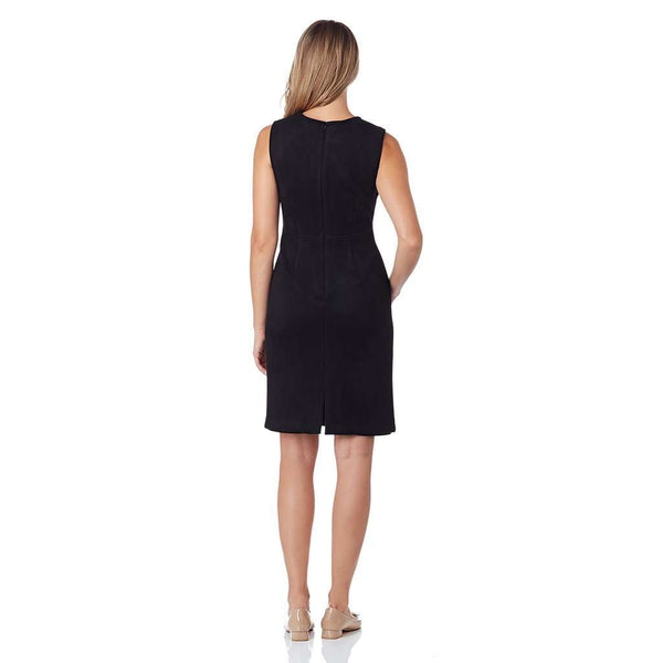 Julia Faux Suede Sheath Dress in Black by Jude Connally