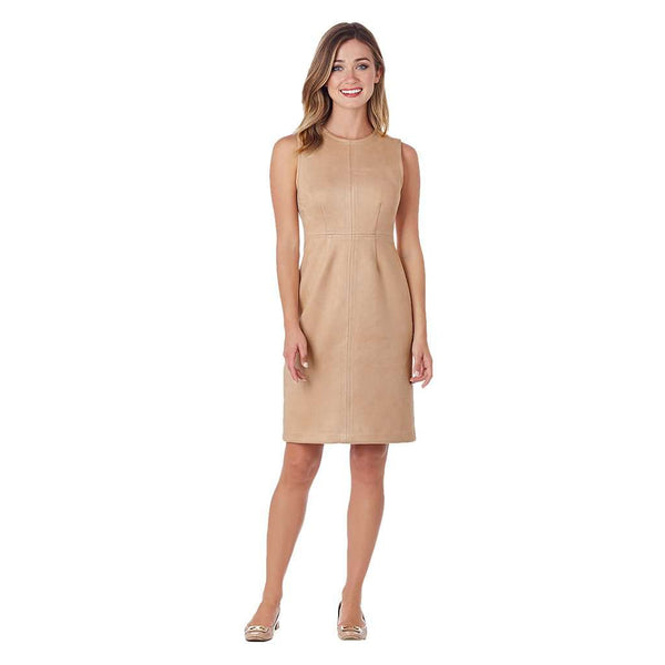 Julia Faux Suede Sheath Dress in Camel by Jude Connally